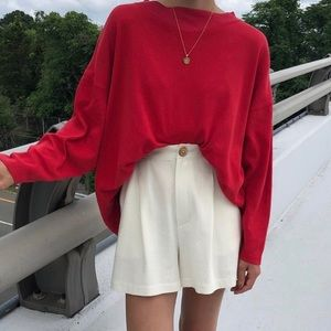 Red Halogen Wool Blend Stand Up Collar Sweater